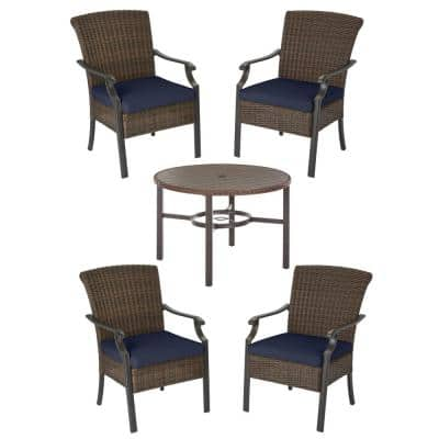 Harper Creek 5-Piece Brown Steel Outdoor Patio Dining Set with CushionGuard Midnight Navy Blue Cushions