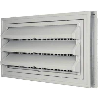 9-3/8 in. x 17-1/2 in. Foundation Vent Kit with Trim Ring and Optional Fixed Louvers (Galvanized Screen) #030 Paintable