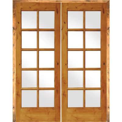 60 in. x 80 in. Rustic Knotty Alder 10-Lite Both Active Solid Core Wood Double Prehung Interior Door