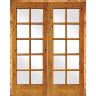 60 in. x 80 in. Rustic Knotty Alder 10-Lite Left Handed Solid Core Wood Double Prehung Interior Door