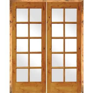 64 in. x 80 in. Rustic Knotty Alder 10-Lite Both Active Solid Core Wood Double Prehung Interior Door