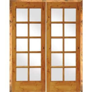 64 in. x 80 in. Rustic Knotty Alder 10-Lite Right Handed Solid Core Wood Double Prehung Interior Door