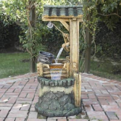 50 in. Tall Outdoor Water Well Fountain with Tiering Bucket
