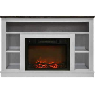 Oxford 47 in. Electric Fireplace with 1500-Watt Charred Log Insert and A/V Storage Mantel in White