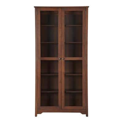 Bradstone 72.20 in. Walnut Bookcase with Glass Doors
