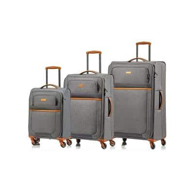 CHAMPS Classic II 28 in.,24 in., 20 in. Grey Softside Luggage Set with Spinner Wheels (3-Piece)