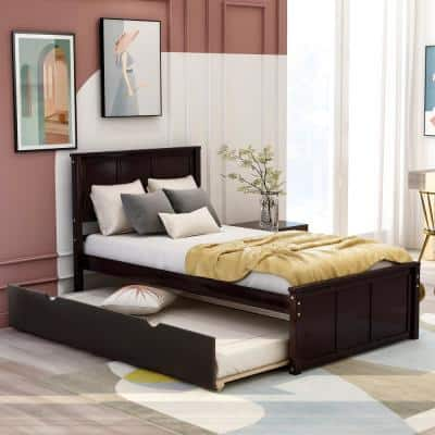 Espresso Twin Size Platform Bed with Twin Size Trundle