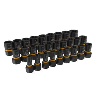 Bolt Biter 1/4 in. and 3/8 in. Drive SAE/Metric Impact Extraction Socket Set (28-Piece)