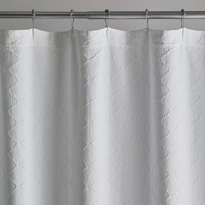 Lattice Matelasse 72 in. White Cotton Shower Curtain