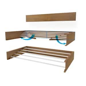 27.5 in. x 3.9 in. Wood Look Wall Mount Retractable Indoor/OutdoorLaundry Garment Rack