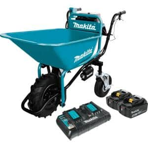 18-Volt X2 LXT Lithium-Ion Brushless Cordless Power-Assisted Wheelbarrow with Two 5.0 Ah Batteries and Charger
