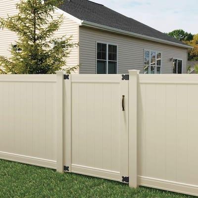 Pro Series 4 ft. W x 6 ft. H Tan Vinyl Woodbridge Privacy Fence Gate