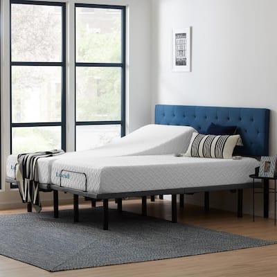 Deluxe Adjustable Bed and 10 in. Plush Gel Memory Foam Split King Mattress Set
