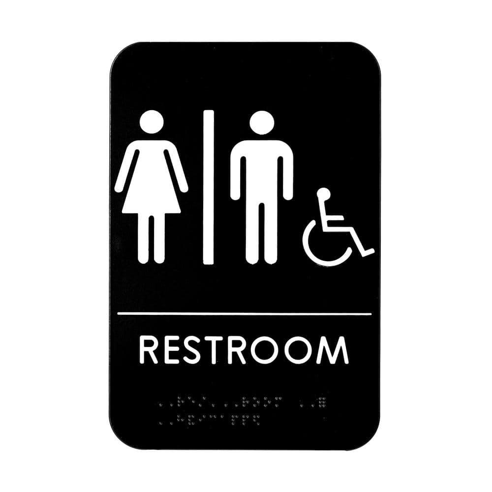 Alpine Industries 9 In X 6 In Unisex Handicap Braille Restroom Sign Sgn 4 The Home Depot