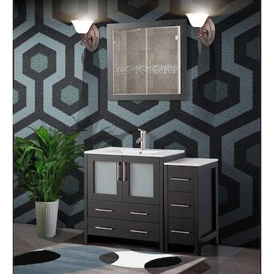 42 in. W x 18 in. D x 36 in. H Bathroom Vanity in Espresso with Single Basin Vanity Top in White Ceramic and Mirror