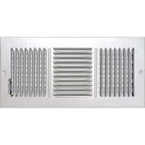 14 in. x 6 in. Ceiling/Sidewall Vent Register, White with 3-Way Deflection