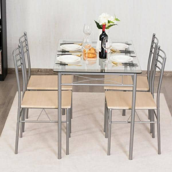 Costway Dining Set 5 Piece Silver Table And 4 Chairs Glass Top Kitchen Breakfast Furniture New Hw61394 The Home Depot
