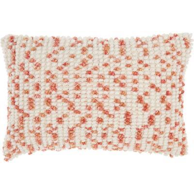 Outdoor Textured Loop and Dots Coral 14 in. x 20 in. Indoor/Outdoor Throw Pillow