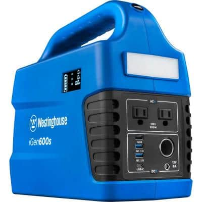iGen600s 600/1200-Watt Pure Sine Wave Lithium-Ion Portable Power Station with Power Inverter, LED Display and Flashlight