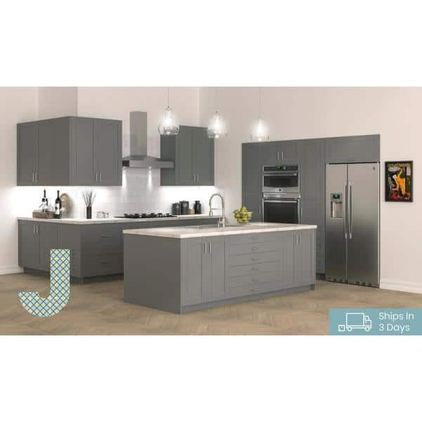 J Collection Shaker Assembled 15 In X 94 5 In X 24 In Pantry Cabinet With Two Inner Drawers And Two Pull Out Deep Drawers In Gray Tb2d152494 5i2 L R Gs The Home Depot