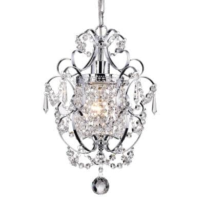 Amorette 1-Light Chrome Mini Chandelier with Crystals