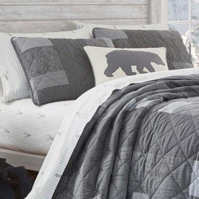 Swiftwater Charcoal Cotton Quilt Set