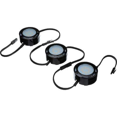 4.6 in. LED Black Puck Light (3-Pack)