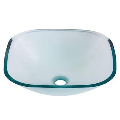 Piazza Square Glass Vessel Sink in Clear