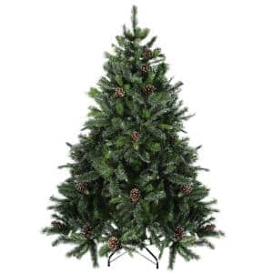 6.5 ft. Unlit Snowy Delta Pine with Pine Cones Artificial Christmas Tree
