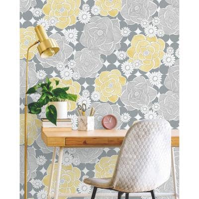 Retro Yellow And Gray Floral Vinyl Peel & Stick Wallpaper Roll (Covers 30.75 Sq. Ft.)