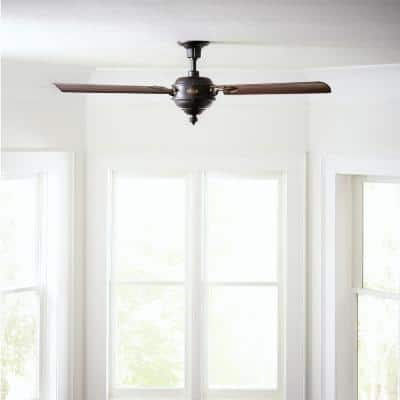 Arezzo 60 in. Indoor/Outdoor Antique Iron with Hand-Rubbed Antique Brass Ceiling Fan with Remote Control