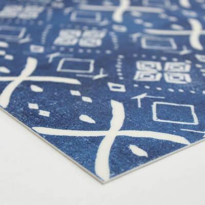 Mudcloth Indigo 1 ft. 8 in. x 2 ft. 6 in. Indoor/Outdoor Vinyl Floor Rug