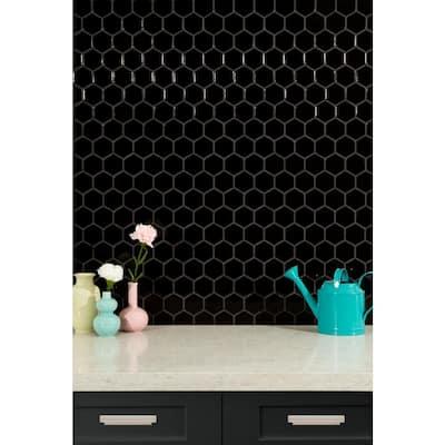 Black Hexagon 11.63 in. x 12.75 in. x 6 mm Matte Porcelain Mosaic Tile (14.4 sq. ft. / case)