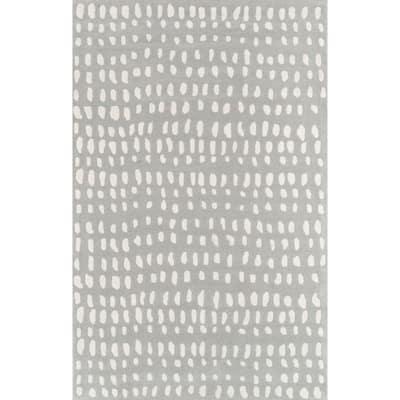 Delmar Boho Dots Grey 3 ft. 6 in. x 5 ft. 6 in. Area Rug