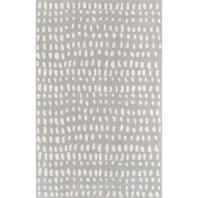 Delmar Boho Dots Grey 9 ft. x 12 ft. Area Rug