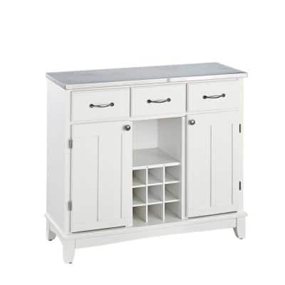 White and Stainless Steel Buffet with Wine Storage