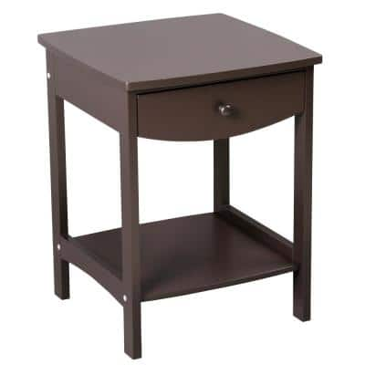 1-Drawer Brown Nightstand (21.8 in. H x 17.3 in. W x 17.3 in. D)