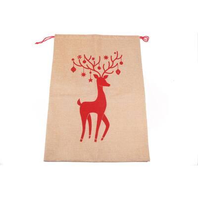 Giant Gift Sac Reindeer Print on Burlap 26.5 in. x 19 in.