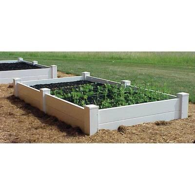 96 in. L x 48 in. W x 11 in. H White Vinyl 2-Level Raised Garden Bed Bed