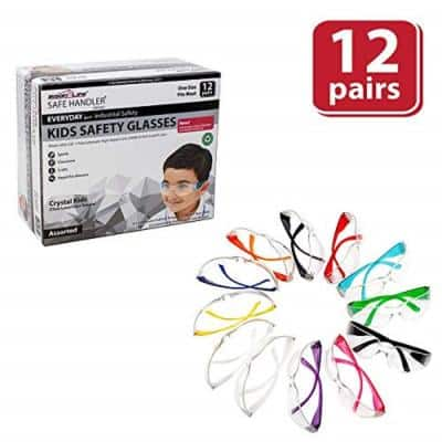 Kids Protective Safety Glasses, Clear Lens - Color Temple, Child Size (Box of 12) - Variety Pack