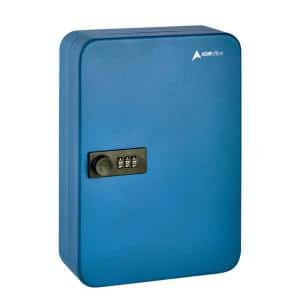 48-Key Steel Secure Key Cabinet with Combination Lock, Blue