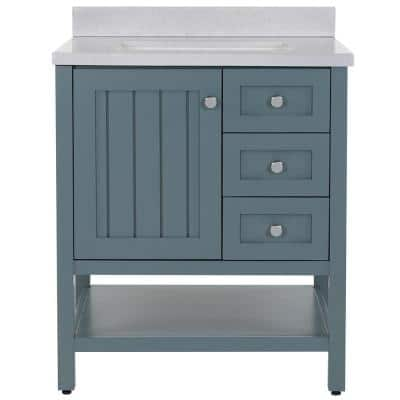 Lanceton 31 in. W x 22 in. D Bath Vanity in Sage with Solid Surface Vanity Top in Titanium with White Sink