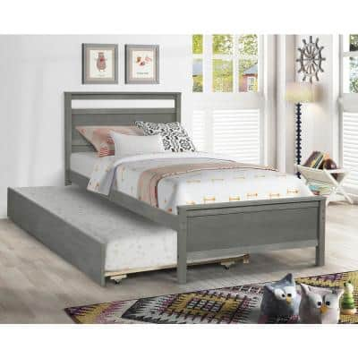 Gray Twin Size Solid Wood Frame Platform Bed with Trundle