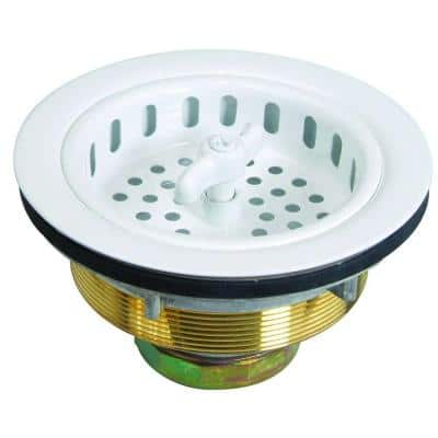 3-1/2 in. Wing Nut Locking Style Basket Strainer with Nut and Washer in White