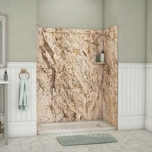 Royale 36 in. x 60 in. x 80 in. 11-Piece Easy Up Adhesive Alcove Bathtub/Shower Wall Surround in Golden Beaches