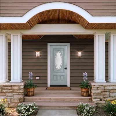 34 in. x 80 in. 3/4 Oval Lite Wendover Stone Stained Fiberglass Prehung Left-Hand Inswing Front Door