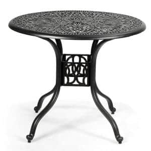 Cast Aluminum Patio Outdoor Dining Table with Umbrella Hole