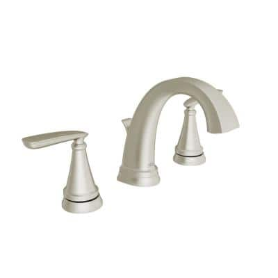 Somerville 8 in. Widespread 2-Handle Bathroom Faucet with Pop-Up Drain Set of 2 in Brushed Nickel