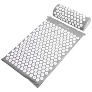 Grey 25 in. x 15.75 in. Acupressure Mat and Pillow Set for Back/Neck Pain Relief and Muscle Relaxation (2.73 sq. ft.)