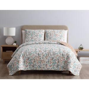 Gertrude Reversible Blue Floral King Quilt Set,